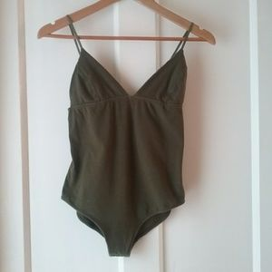 Out From Under | UO Olive Green Deep V Bodysuit